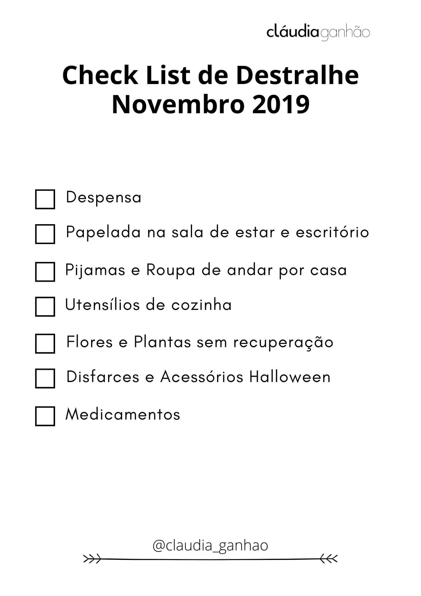 Check-list Destralhe Novembro